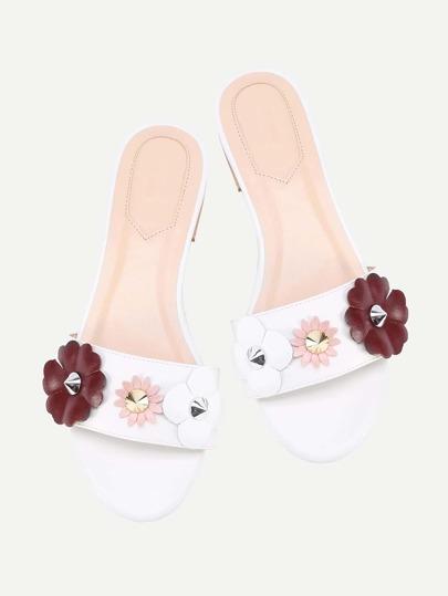 Flower And Studded Embellished Flat Sliders
