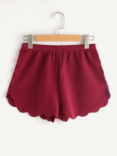 Elasticized Waist Scallop Edge Textured Shorts