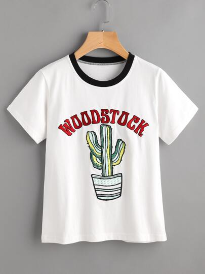Contrast Neck Embroidered Tee