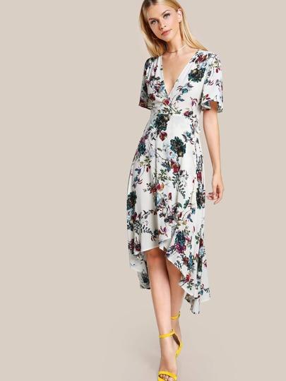 Floral Print Wrap Dress OFF WHITE
