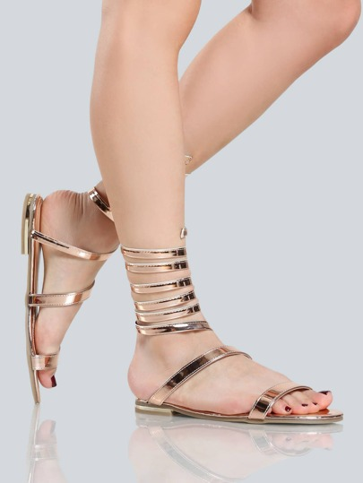 Metallic Coil Sandals ROSE GOLD