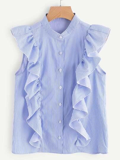 Blouse découpée à rayures avec des plis et des boutons