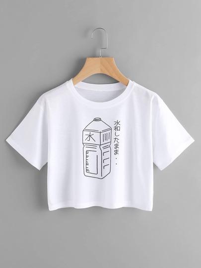 Tee-shirt imprimé des bouteilles
