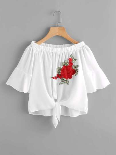 Bardot Embroidered Applique Flute Sleeve Knotted Hem Top