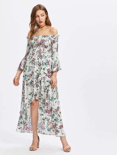 Smocked Bodice Trumpet Sleeve Overlap Bardot Dress