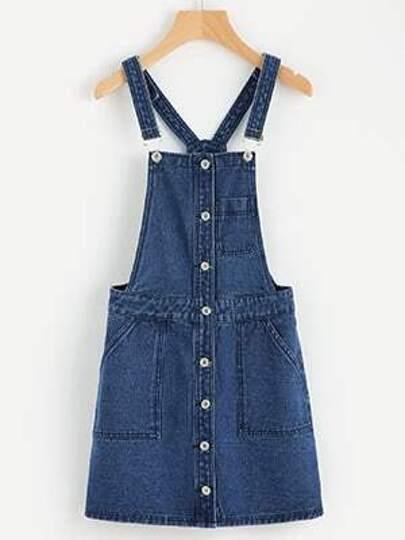 Denim Kleid mit 5 Taschen und Knöpfen vorne