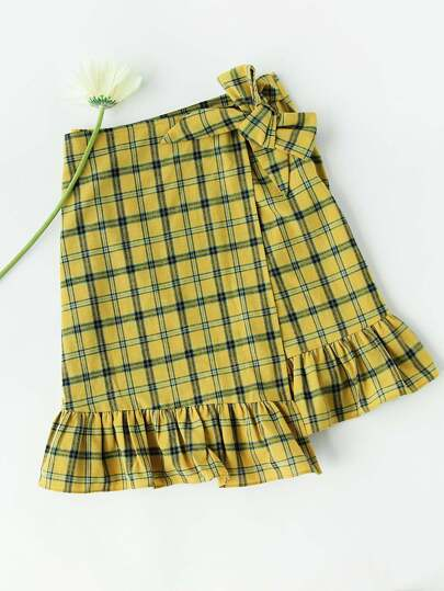 Frill Trim Checkered Self Tie Overlap Skirt