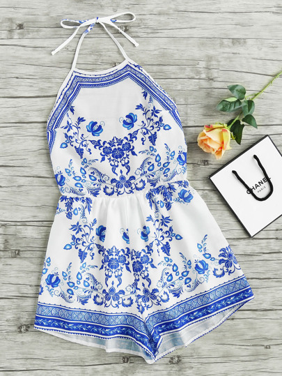 Halterneck China Print Playsuit