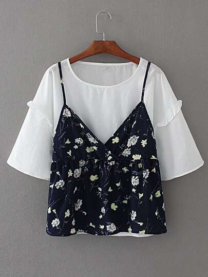 Frill Trim 2 In 1 Top Floral