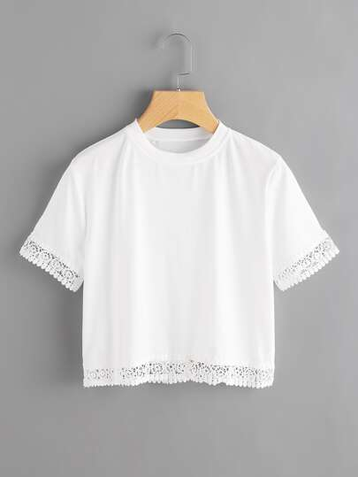 Hollow Out Lace Trim Crop Tee