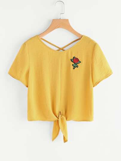Embroidered Rose Patch Knot Front Crisscross Back Top