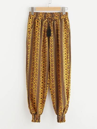 Pantalones harem con estampado azteca con cordón