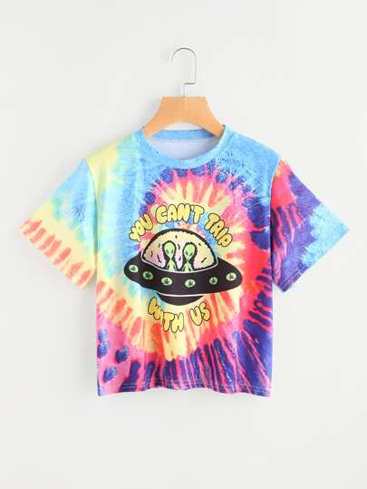 Alien Print Water Color Tee