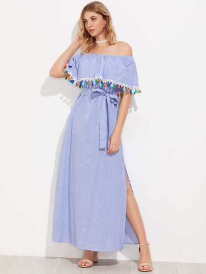 Tassel Trim Flounce Off Shoulder Side Slit Dress