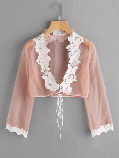 Contrast Crochet Lace Trim Drawstring Blouse