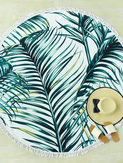 Jungle Print Fringe Trim Round Beach Blanket