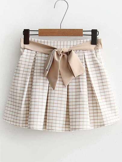Jupe-Shorts à carreaux avec lacet