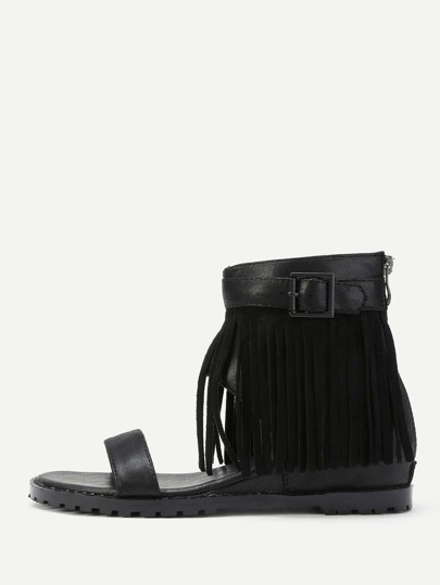 Fringe Design Block Heeled Sandals With Zipper