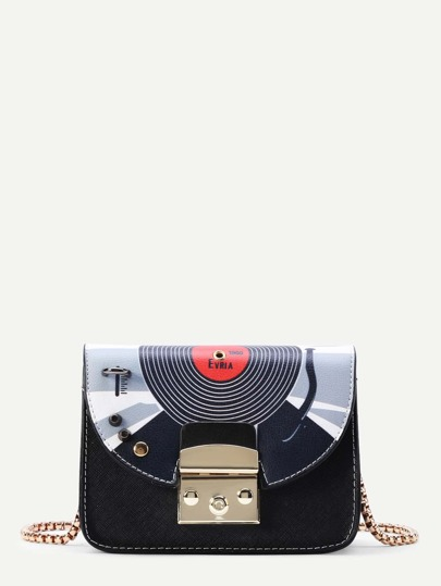 Studded Detail Print Flap PU Crossbody Bag