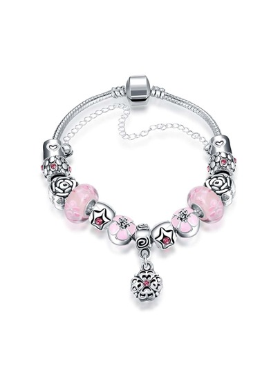 Flower Design Chain Bracelet With Rhinestone