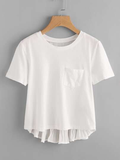 Accordion Pleat Back High Low Tee