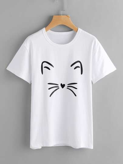 Tee-shirt imprimé du chat