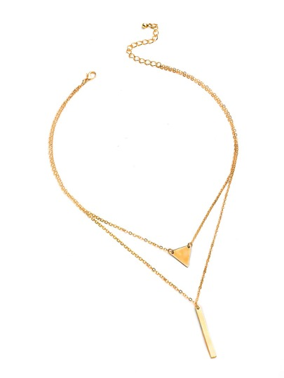 Metal Triangle And Bar Pendant Necklace