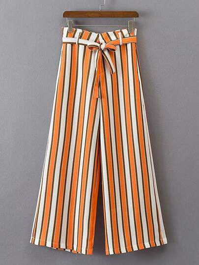 Bow Tie Waist Vertical Striped Wide Leg Pants