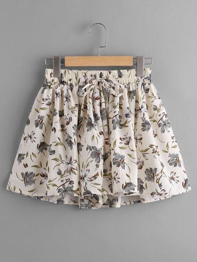 Shorts avec taille ruché avec cordon de taille imprimé fleur random