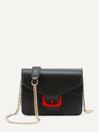 Contrast PU Flap Chain Crossbody Bag