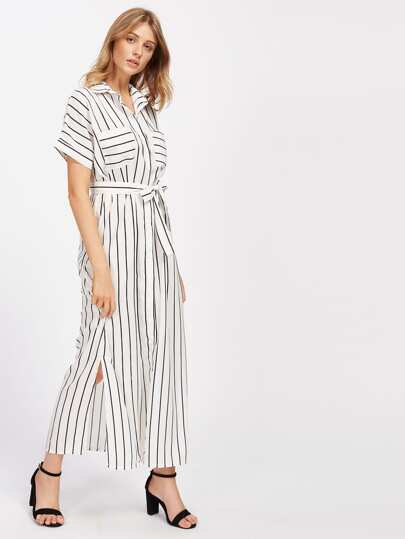 Vertical Striped Slit Side Self Tie Shirt Dress