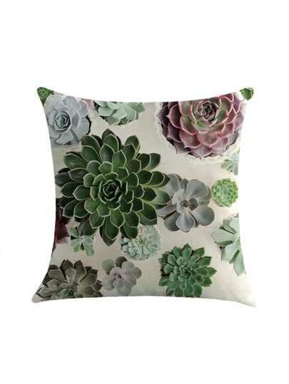 Succulents Print Overlay Pillowcase Cover