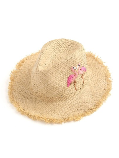 Couple Flamingo Pattern Fedora Straw Hat