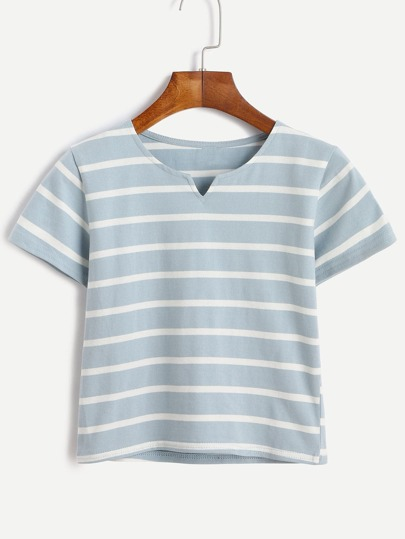 Blue Striped V Cut Crop T-shirt
