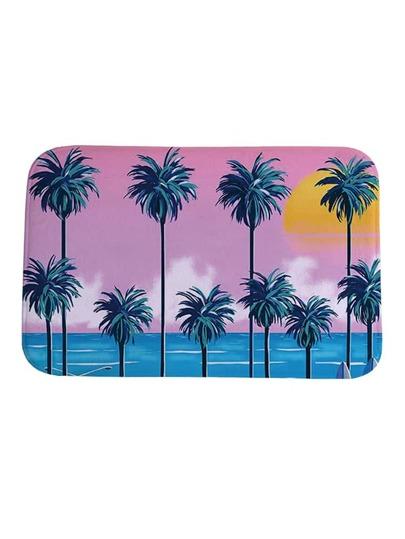 Tapis imprimé des palmiers et bord de mer