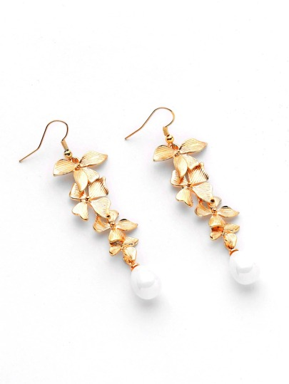Faux Pearl And Flower Drop Earrings