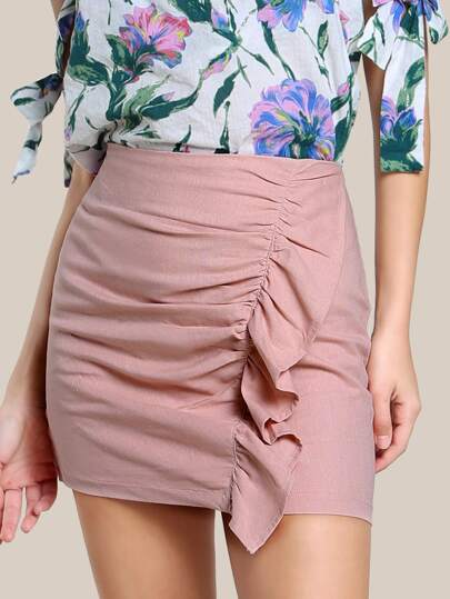 Ruched Ruffle Zip Up Skirt DARK ROSE
