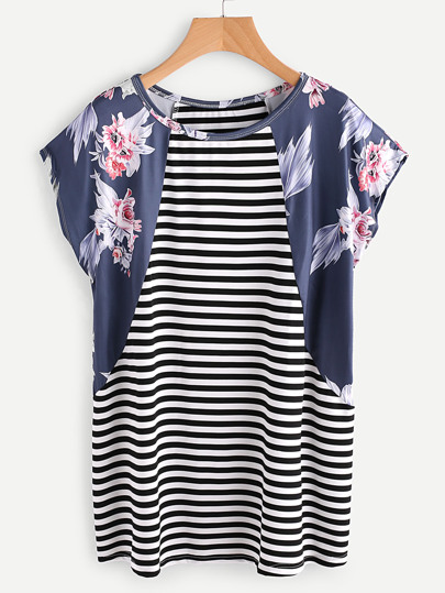 Contrast Florals Panel Dolman Sleeve Striped Tee