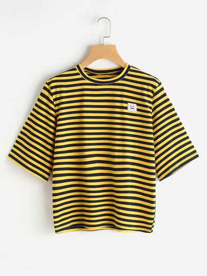Bee Stripe Emoji Patch Tshirt