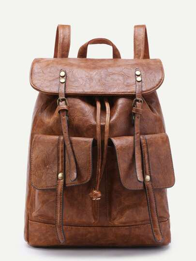 Double Pocket And Buckle Front PU Backpack