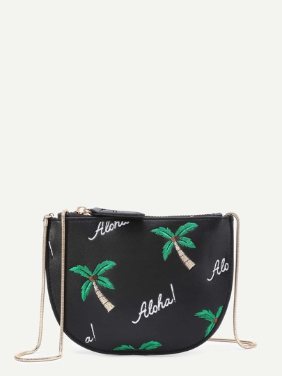 Palm Tree Print PU Crossbody Bag