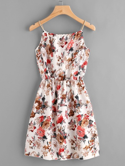 Braided Bead Strap Self Tie Calico Print Dress