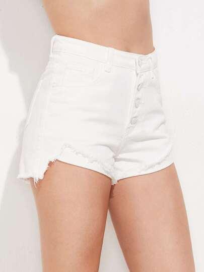Buttoned Front Fold Hem Denim Shorts