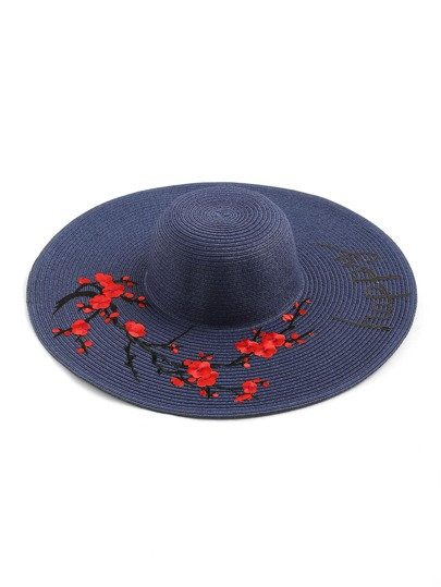 Flower Embroidery Wide Brim Straw Beach Hat