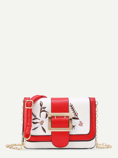 Flower Embroidery PU Crossbody Bag With Metal Buckle