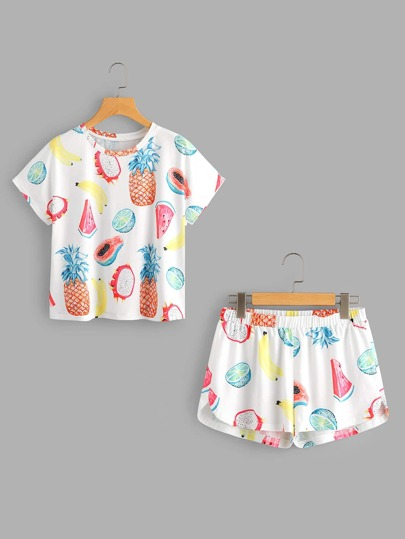 Fruits Print Top And Dolphin Shorts Pajama Set