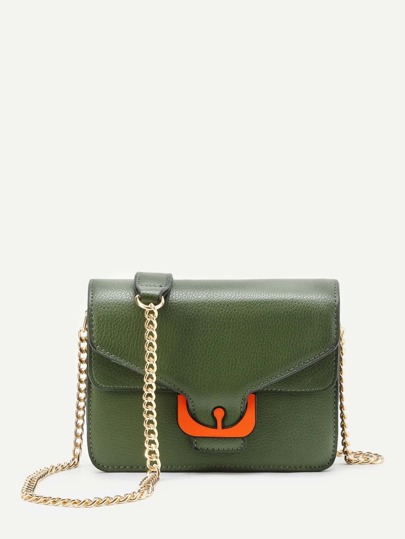 Contrast PU Flap Chain Crossbody Bag