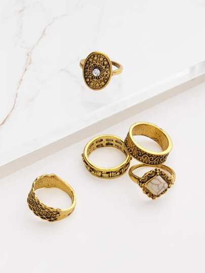Turquoise Detail Multi Shaped Ring Set 5pcs