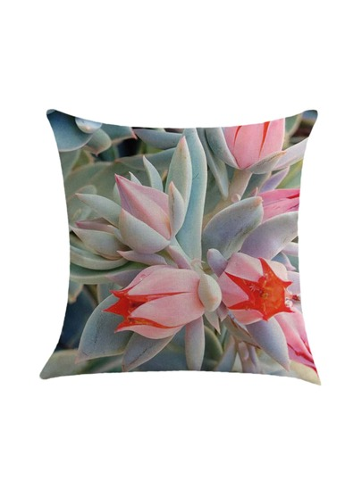 Succulent Flower Print Pillowcase Cover