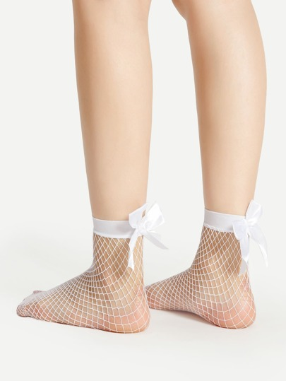 Ribbon Bow Fishnet Ankle Socks